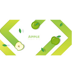 Fresh apple fruit background in paper art style vector