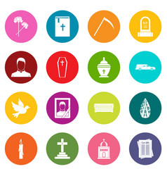 Funeral icons many colors set vector