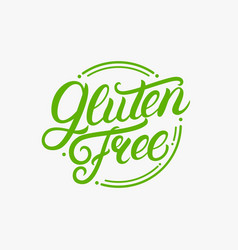 Gluten free hand written lettering logo label vector