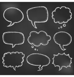 Hand drawn cartoon speech bubble on black board vector image