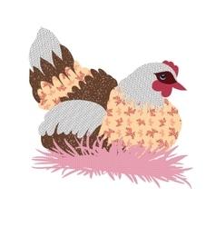 Hand drawn patchwork hen vector