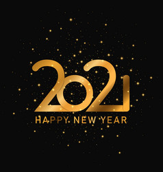 happy 2021 new year golden banner template vector image