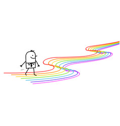 happy carton man walking on rainbow lines path vector image