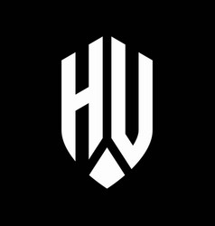 hu logo monogram with emblem shield style design vector image