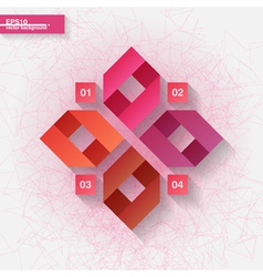Infographic template with four pink ribbon labels vector image