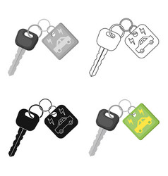 Key from eco car icon in outline style isolated on vector