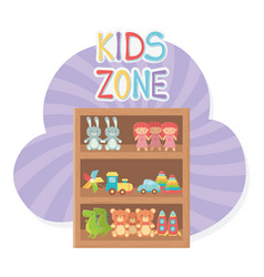 kids zone wooden shelf furniture with toys vector image