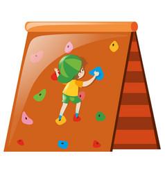 Little boy climbing on wall vector