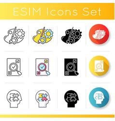 Logical mind icons set vector