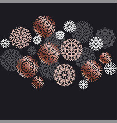 luxury rose gold xmas geometric snow flackes vector image