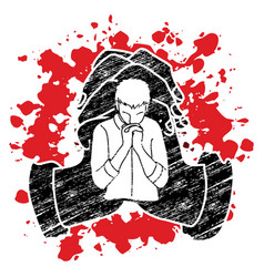 man praying to god prayer cartoon graphic vector image