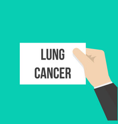 man showing paper lung cancer text vector image