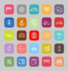 Map place line flat icons vector image