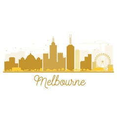 Melbourne City skyline golden silhouette vector
