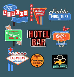 neon signboards billboards light boxes and road vector image
