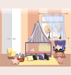 newborn kid or nursery room interior flat vector image