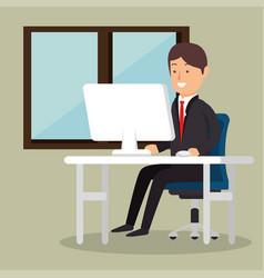 office worker business man computer vector image