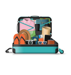 Opened travel suitcase full of things for vacation vector