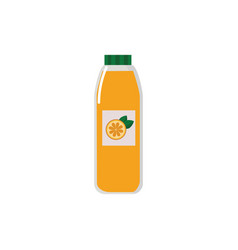 Orange juice bottle with fresh fruit label filled vector