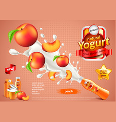 Peach yogurt ads bottle explosion background vector