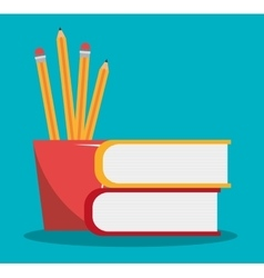 pencil holders with books isolated icon design vector image
