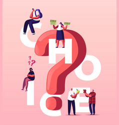 people making choice concept tiny characters vector image