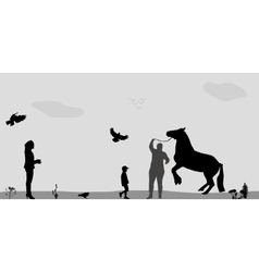 People walk on connie birds fly in nature vector