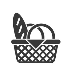 Picnic basket and bread food and beverage set vector