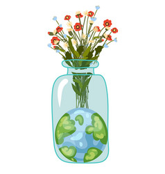 planet earth and flowers eco environment green vector image