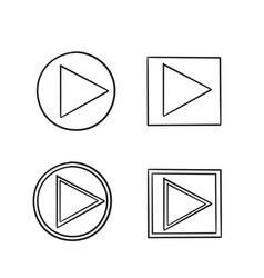 Play button icon handdrawn style vector