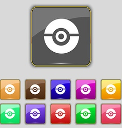Pokeball icon sign Set with eleven colored buttons vector