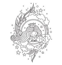 Portrait of little queen mermaid with fish vector