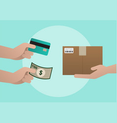 product delivery payment by cash or credit card vector image