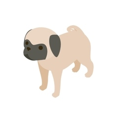 Pug dog icon isometric 3d style vector