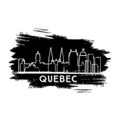 quebec canada city skyline silhouette hand drawn vector image