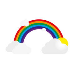 rainbow with gray clouds and sun vector image