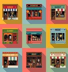 Restaurant Shopfront Icon Set vector image