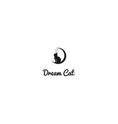 Retro crescent moon with cat kitty silhouette for vector