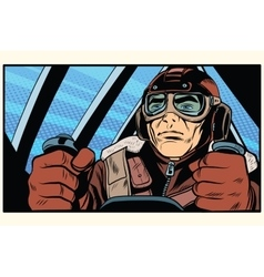 Retro military Aviator pilot vector
