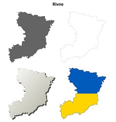 Rivne blank outline map set vector