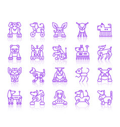 Robot dog simple ultraviolet line icons set vector
