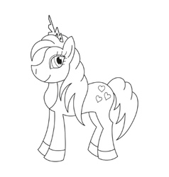 Royal pony with a magnificent mane and tail vector
