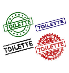 Scratched textured toilette seal stamps vector