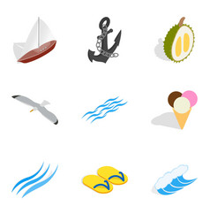 Sea breeze icons set isometric style vector