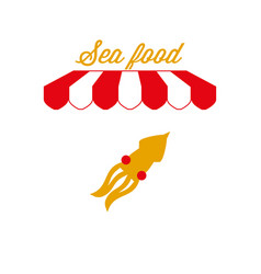 Sea food sign emblem red and white striped awning vector