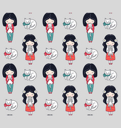 seamless pattern with dark-haired little girl and vector image