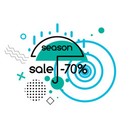 Season sale up to 70 percent off umbrella and rain vector