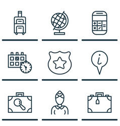 Set of 9 travel icons includes calculation vector
