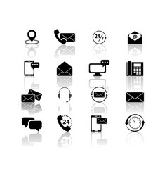 set of contact with reflection icons vector image vector image