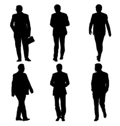 set silhouette businessman man in suit on a white vector image